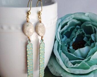 Gemstone statement earrings, bohemian jewelry, patina earrings, boho brass earrings, white River stone, boho chic earrings, shabby chic
