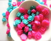10mm Rosette Cabochon Lot-Hot Pink & Turquoise Lot of 80-DIY Earring, Jewelry Crafting-Baby Shower-Findings-Rose Craft Supplies-School Gift