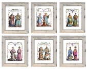 Discount Price. Set of 6 Chinoiserie Prints Size 8 x 10 inches. Discount Chinese Prints. Discounted Prices Chinese Emperor Court Costumes