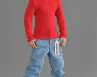 1/6th scale red long sleeve T-shirt for: action figures and male fashion dolls