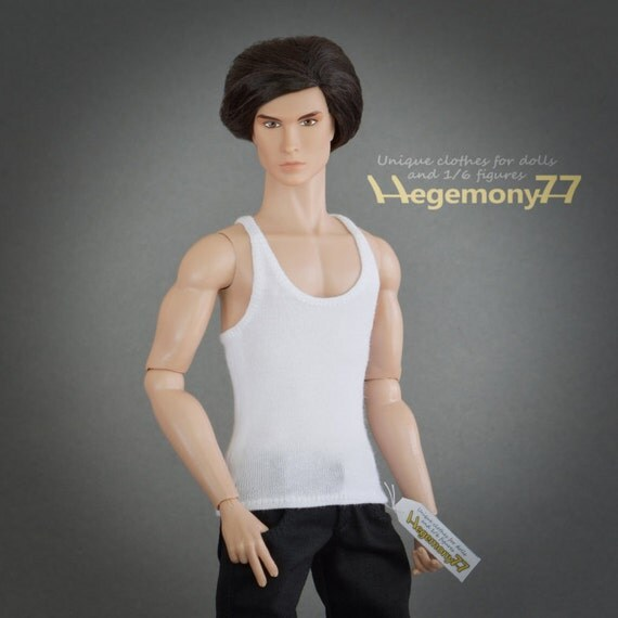 1/6th scale white tank top vest for: Ken, Fashion Royalty male, Taeyang dolls and slim action figures