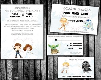 Watercolor Han And Leia Star Wars Wedding Invitation, Save The Date, RSVP,  And