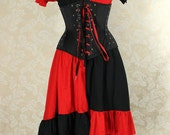 "Harley Quinn Ragamuffin Dress in Red & Black Cotton -- Size M, Fits Bust 36""-40"" -- Ready to Ship"