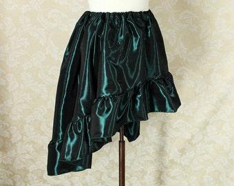 "Steampunk High Low Mini Cecilia Skirt -- Dark Green Taffeta -- Ready to Ship -- Best Fits Up To 48"" Waist"