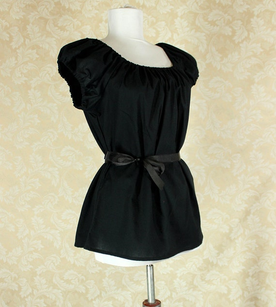 "Black Cotton Willow Chemise -- Sz. M -- Fits Bust 36""-40"" --  Ready to Ship"