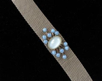 Mid Century Mesh Bracelet Blue Moonstones