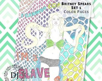 Britney Spears Adult Coloring Pages Set 1 Instant Digital Download