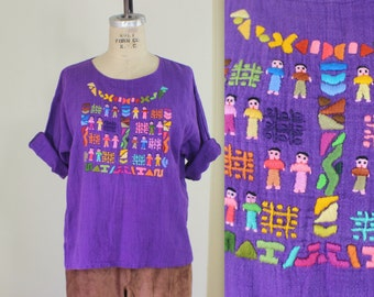 Many People Embroidered Blouse / Vintage Bohemian Cotton Top / Purple South American Women's Clothing