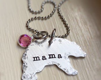 Mama Bear Necklace Birthstone Personalized gift for Mom Mothers Gift Bear Cub