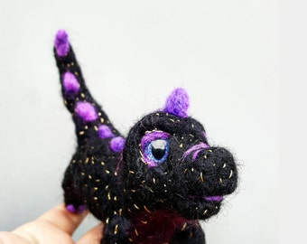 Black dinosaur,  hand painted, glitter eyes, needle felted, purple and black, felt dinosaur, posable dragon, wool animals, fantasy creature