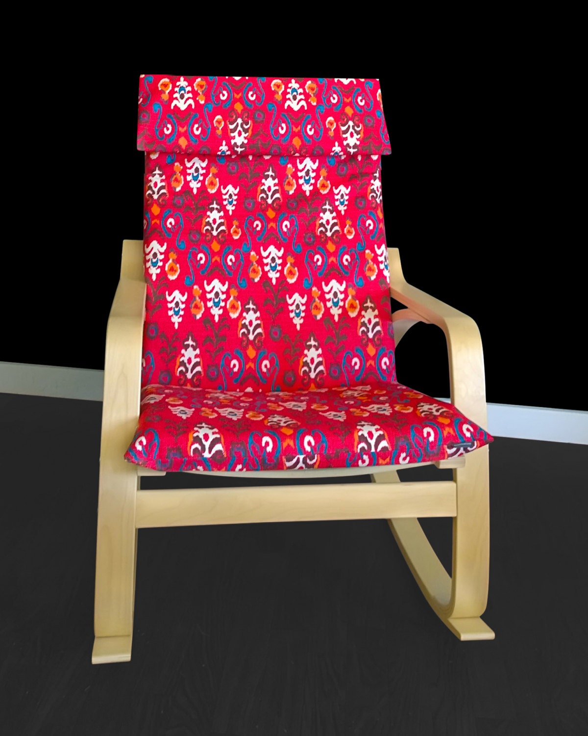 Red flower print poang chair cover unique ikea chair seat - Red poang chair ...