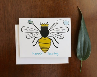 Greeting Card - Happy Bee Day - Birthday - garden, farm, bee, honey, gift, humor, witty, mom, women