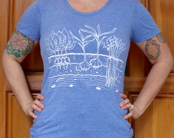 Womens Fitted TRI BLEND Track T Shirt - Veggie Garden - S M L XL - Hand Screen Printed On American Apparel