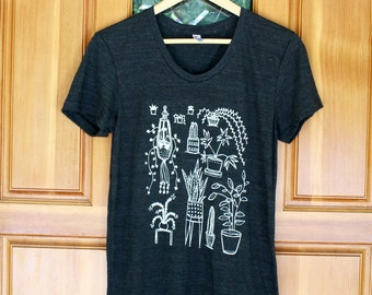 Houseplant T-Shirt - Women's Fitted TRI BLEND Track T Shirt - S M L XL - Hand Screen Printed On American Apparel