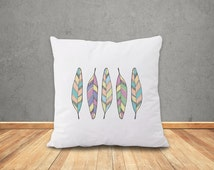 Feathers Pillow-Feathers pillow cover-boho cushion cover-tribal pillow-home decor-hipster-housewarming gift-home decor-NATURA PICTA-NPCP054