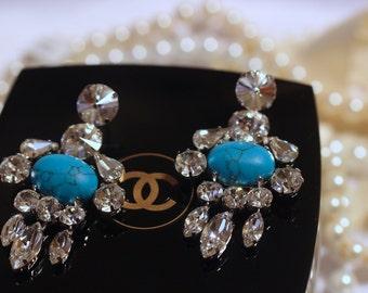 Turquise Earrings, Bridal Earrings, Crystal Earrings, Wedding Jewlry, Turquise Jewelry, Bridal Chandelier, Turquise Drop Earrings Blue