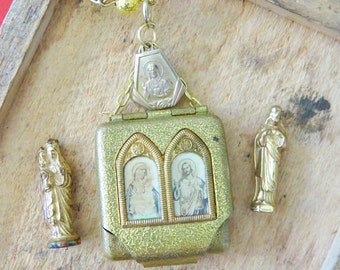 Blessings- Early 1900's  Vintage Pocket Shrine VIRGIN MARY JESUS Statue Ensemble Religious Vintage Book Chain Necklace