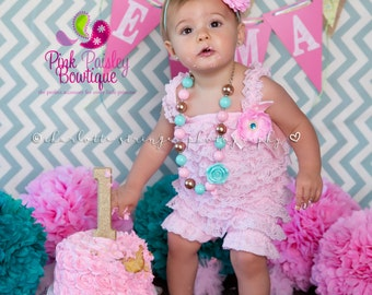 Baby Girl Clothes - Pink Baby Romper - Baby Girl Rompers - Baby Girl 1st Birthday Outfit - Cake smash Outfit -Baby Romper -Girl Photo Outfit