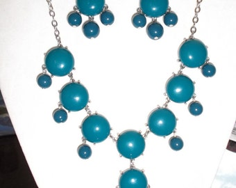SALE Beautiful Dark Turquoise and Silver Bubble Necklace and Earrings Boho Hippie High Fashion Modern, Great Gift very Light Ready to Ship