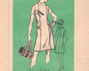 Mod Vintage 1960s Prominent Designer A571 Alice Schweitzer A-line Shift Dress with Tabs Sewing Pattern B38