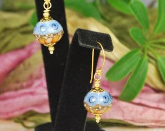 Lovely two toned artist crafted lampwork earrings, blue and brown earrings, vermeil earrings, SRAJD