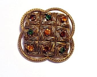 Florenza Multi Color Rhinestone Brooch Retro Fashion Jewelry Accessory