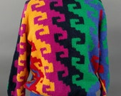 Vintage 1980s Alpaca Sweater Pull Over Color Block by Helen Hamonn Hand Knitted In Peru S/M/L Stretchy 80s