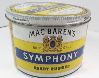 Vintage Mac Baren's Symphony Ready Rubbed Tobacco 7 oz Tins Advertising Denmark