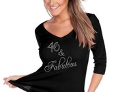 Custom Rhinestone BLiNg 40 & Fabulous Shirt 40th Birthday Shirt -- NEW ITEM!!