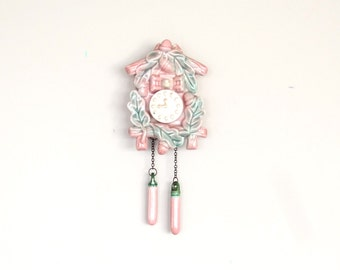 Ceramic Pink Wall Planter Cuckoo Clock