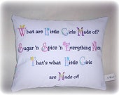 "CLEARANCE SALE Novelty Pillow ""What Are Little Girls Made Of"" Poem, Little Girls Nursery New Baby  Baby Girl Home Decor, Baby Shower Gift"