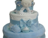 Harry Hedgehog Three Tier Blue Fluffy Nappy Cake Baby Boy  Baby Shower Gift