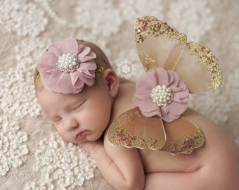 READY TO SHIP Baby Butterfly Wings Ready To Ship Newborn Photo Prop Newborn Butterfly Wings Baby Girl Photo Props Vintage Baby Photo Props