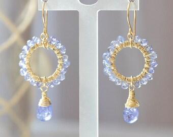 Tanzanite Earrings, Purple stone gold earrings, Tanzanite gold earrings, Violet blue stone earrings