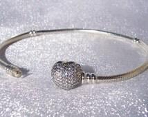 Pandora Pave Heart Bracelet Clasp Love Glam Bling Valentine's Day 2016 Sparkling Love Bracelet FREE SHIPPING