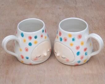 Rainbow confetti smiling face mug, handmade mug, handmade ceramic, clay mug, coffee mug, tea mug