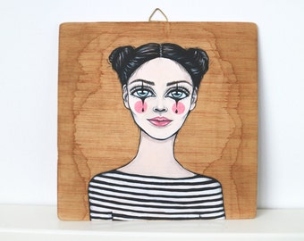 Original painting, acrylic paint, vintage portrait, mime illustration, boho style, parisian mime, vintage style room decor