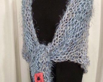 shades of light blue wrap--Blue Skies Knit Shawl