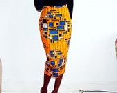 fully lined African print midi pencil skirt (yellow)
