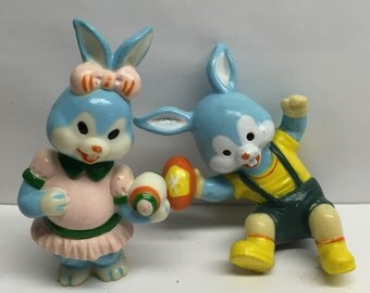 Bunny Cake toppers  Blue girl and boy bunnies Vintage blue rabbits