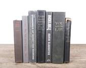 Old Books Vintage Books / Decorative Books / Vintage Mixed Book Set / Black Grey Books / Books by Color / Books for Decor Antique Books