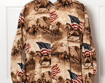 Men's Button Down Shirt - BIT & BRIDLE - Wild Horses American Flag Mount Rushmore