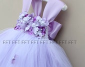 Lavender Flower Girl Dress, Light Purple Tutu Dress With Cap Sleeves