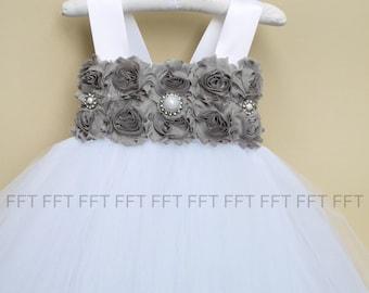 Gray Silver Flower Girl Dress, Tutu Dress