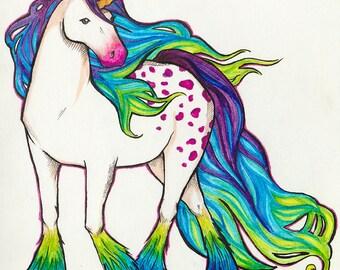 Candycorn Unicorn, Original Framed Marker Art