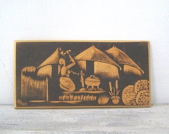 African Village Wood Art Vintage, Engraved Wood Plaque, Tribal Life, Woman on Campfire, Primitive Life, Feminine Art, Wood Relief Ethnic