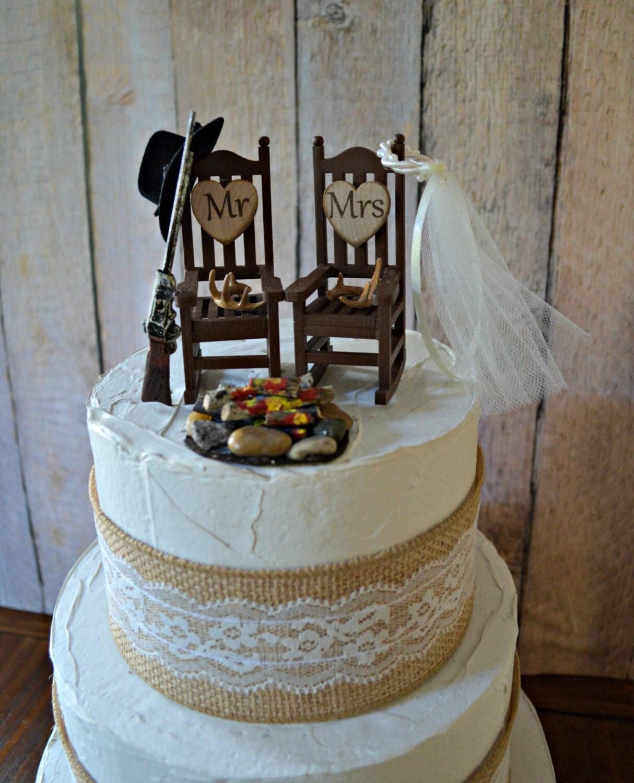 Hunting Themed Rocking Chair Gun Riffle Campfire Wedding Cake