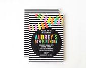 Girls Birthday Party Invitations Custom Black and White Stripe Party Invite Girly Gold Glitter Modern Colorful Geometric Invitation Tassels
