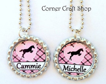 Personalized Name  Pink Horse Bottle Cap Necklace in Pink Black   Horse lover gift  Party Favors