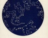 Vintage 1920 Edwardian ZODIAC STAR MAP 25 Stars astronomy print star chart zodiac constellations Celestial Maps